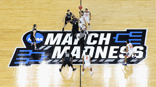 A general view of the tip-off between the Butler Bulldogs and Virginia Cavaliers during the second round of the NCAA Men's Basketball Tournament at PNC Arena on March 19, 2016 in Raleigh, North Carolina.