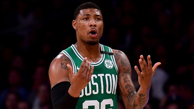 Marcus Smart #36 of the Boston Celtics calls for the ball during the first half against the Los Angeles Lakers at Staples Center on January 23, 2018 in Los Angeles, California.