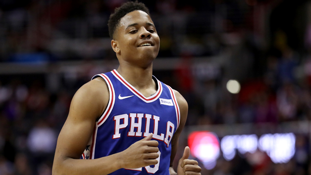 Markelle Fultz #20 of the Philadelphia 76ers jogs off the court against the Washington Wizards at Capital One Arena on October 18, 2017 in Washington, DC.