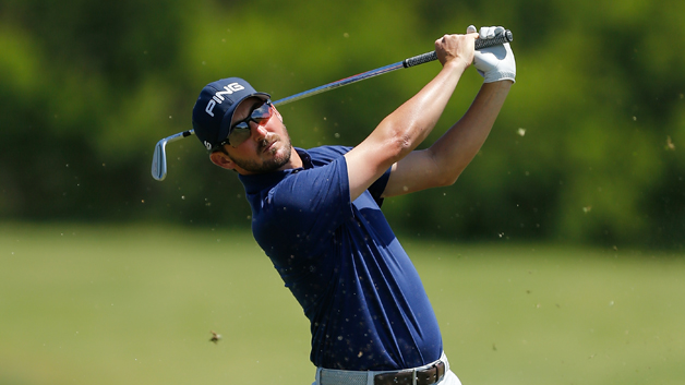 Andrew Landry plays his second shot on the fourth hole during the final round of the Valero Texas Open at TPC San Antonio AT&T Oaks Course on April 22, 2018 in San Antonio, Texas.