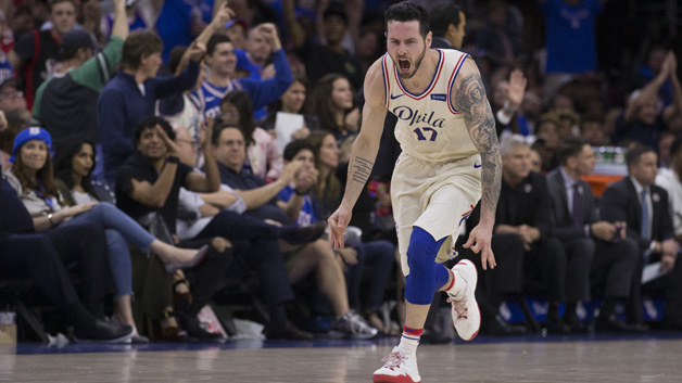 JJ Redick #17 of the Philadelphia 76ers reacts after making a three point basket in the fourth quarter against the Miami Heat during Game One of the first round of the 2018 NBA Playoff at Wells Fargo Center on April 14, 2018 in Philadelphia, Pennsylvania. The 76ers defeated the Heat 130-103.