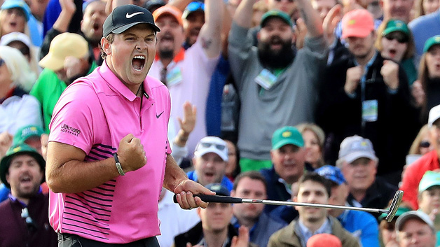 Patrick Reed of the United States celebrates after making par on the 18th green during the final round to win the 2018 Masters Tournament at Augusta National Golf Club on April 8, 2018 in Augusta, Georgia.