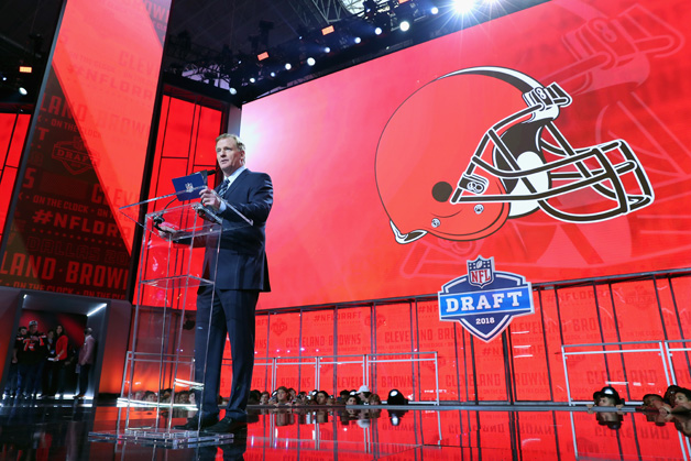NFL Commissioner Roger Goodell announces a pick by the Cleveland Browns during the first round of the 2018 NFL Draft at AT&T Stadium on April 26, 2018 in Arlington, Texas.