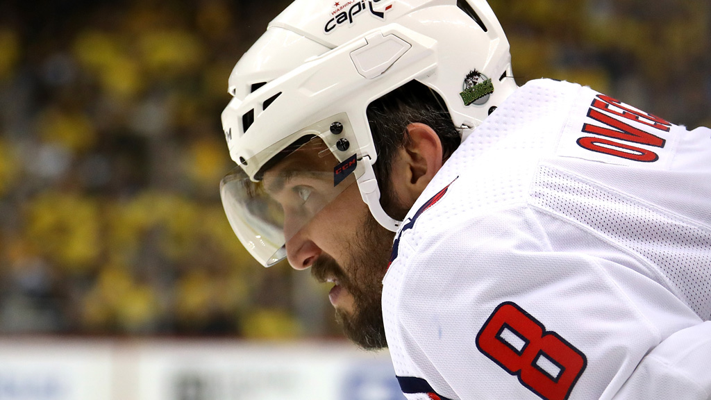 Alex Ovechkin #8 of the Washington Capitals waits for a third period face-off while playing the Pittsburgh Penguins in Game Six of the Eastern Conference Second Round during the 2018 NHL Stanley Cup Playoffs at PPG Paints Arena on May 7, 2018 in Pittsburgh, Pennsylvania.