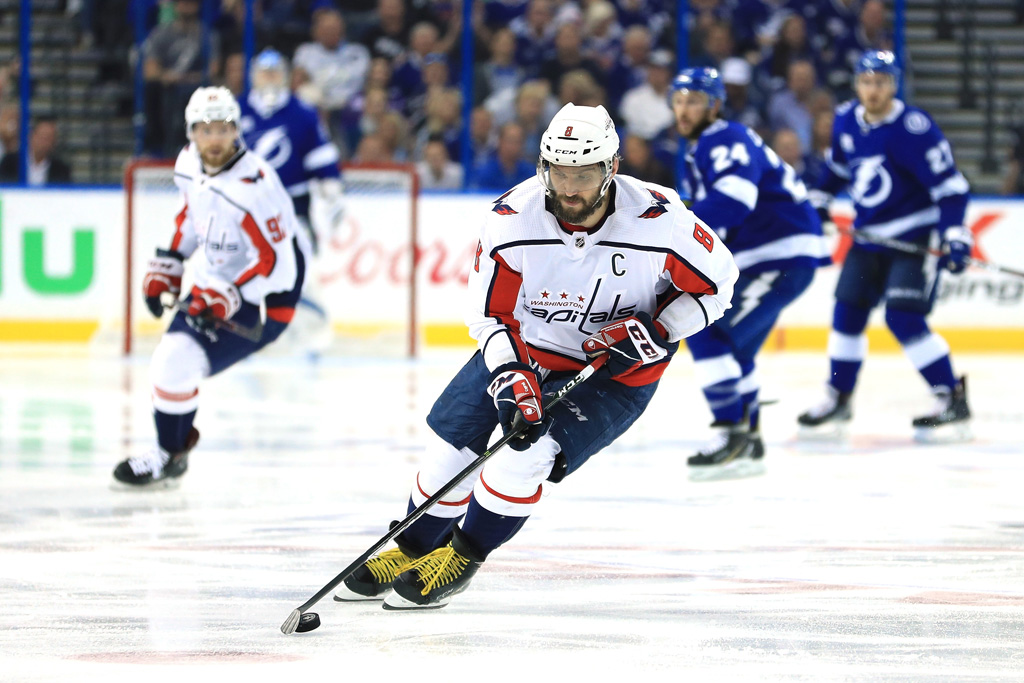 Alex Ovechkin #8 of the Washington Capitals skates with the puck against the Tampa Bay Lightning during the second period in Game Seven of the Eastern Conference Finals during the 2018 NHL Stanley Cup Playoffs at Amalie Arena on May 23, 2018 in Tampa, Florida.