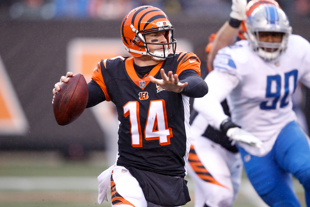 Andy Dalton #14 of the Cincinnati Bengals throws a pass against the Detroit Lions during the second half at Paul Brown Stadium on December 24, 2017 in Cincinnati, Ohio.