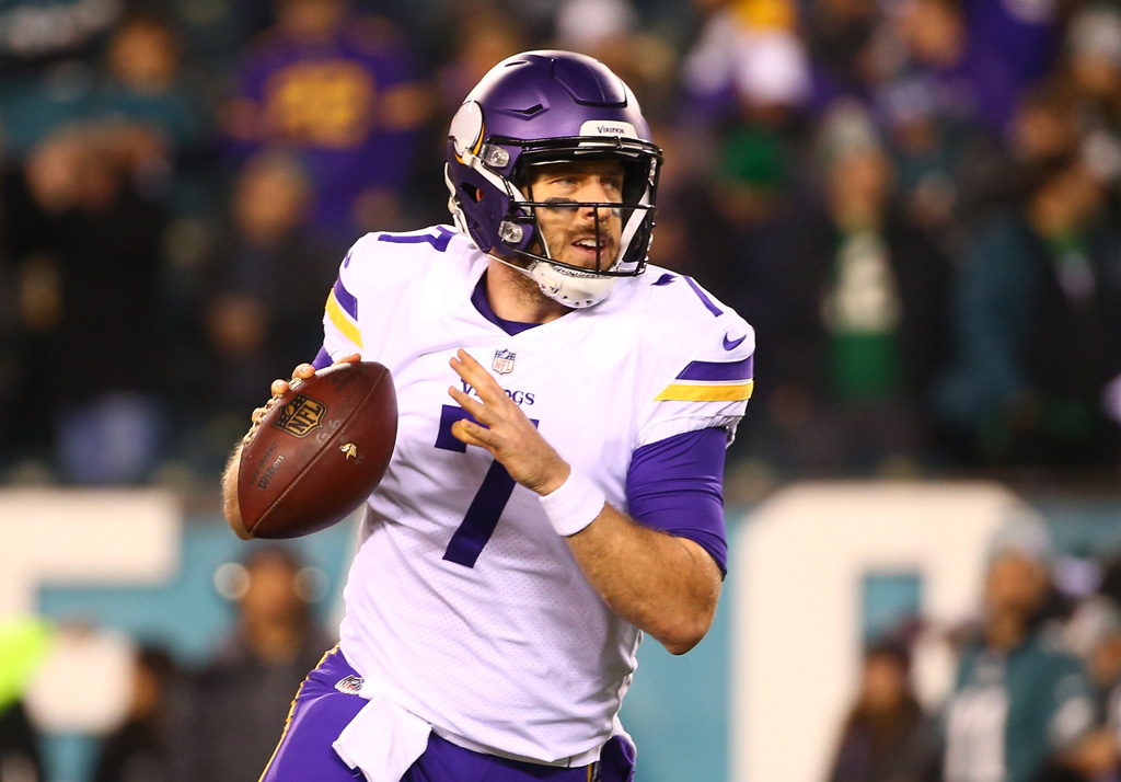 Case Keenum #7 of the Minnesota Vikings warms up prior to the NFC Championship game against the Philadelphia Eagles at Lincoln Financial Field on January 21, 2018 in Philadelphia, Pennsylvania.