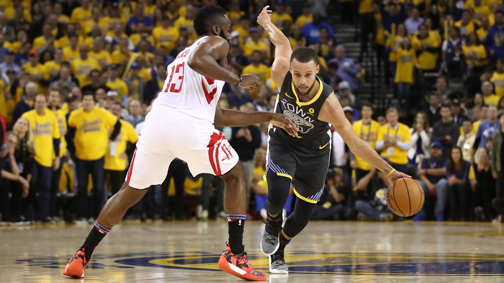 Stephen Curry #30 of the Golden State Warriors drives with the ball against James Harden #13 of the Houston Rockets during Game Four of the Western Conference Finals of the 2018 NBA Playoffs at ORACLE Arena on May 22, 2018 in Oakland, California.