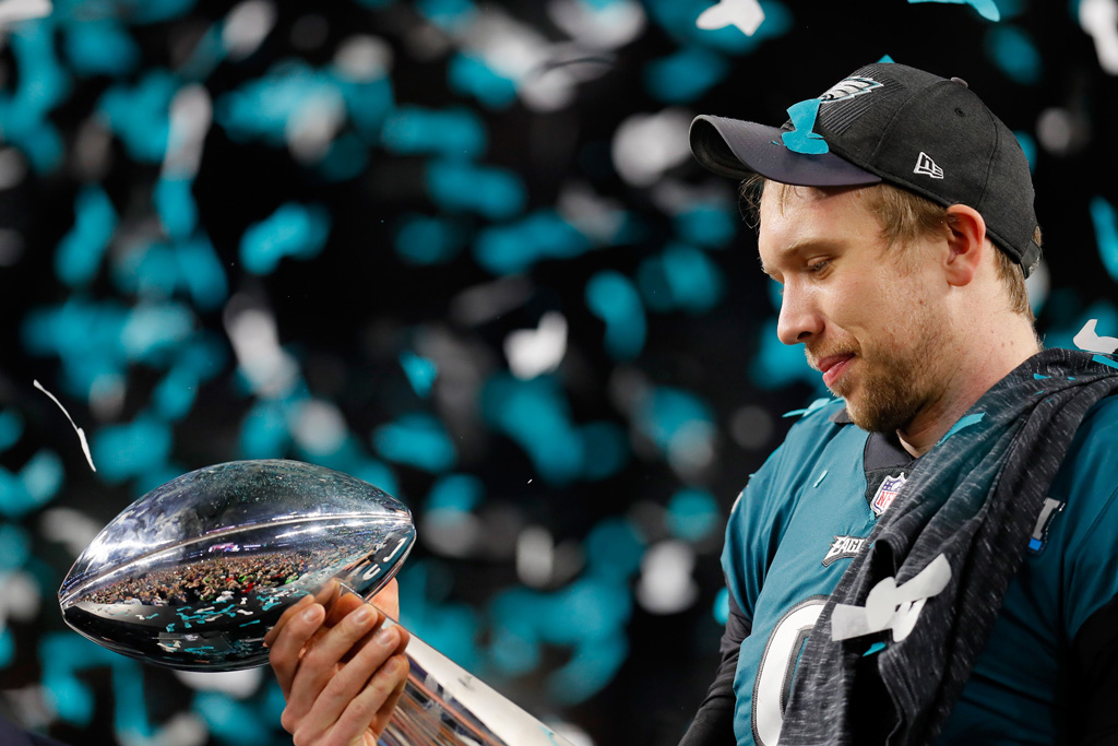 Nick Foles #9 of the Philadelphia Eagles celebrates with the Vince Lombardi Trophy after his teams 41-33 victory over the New England Patriots in Super Bowl LII at U.S. Bank Stadium on February 4, 2018 in Minneapolis, Minnesota. The Philadelphia Eagles defeated the New England Patriots 41-33.