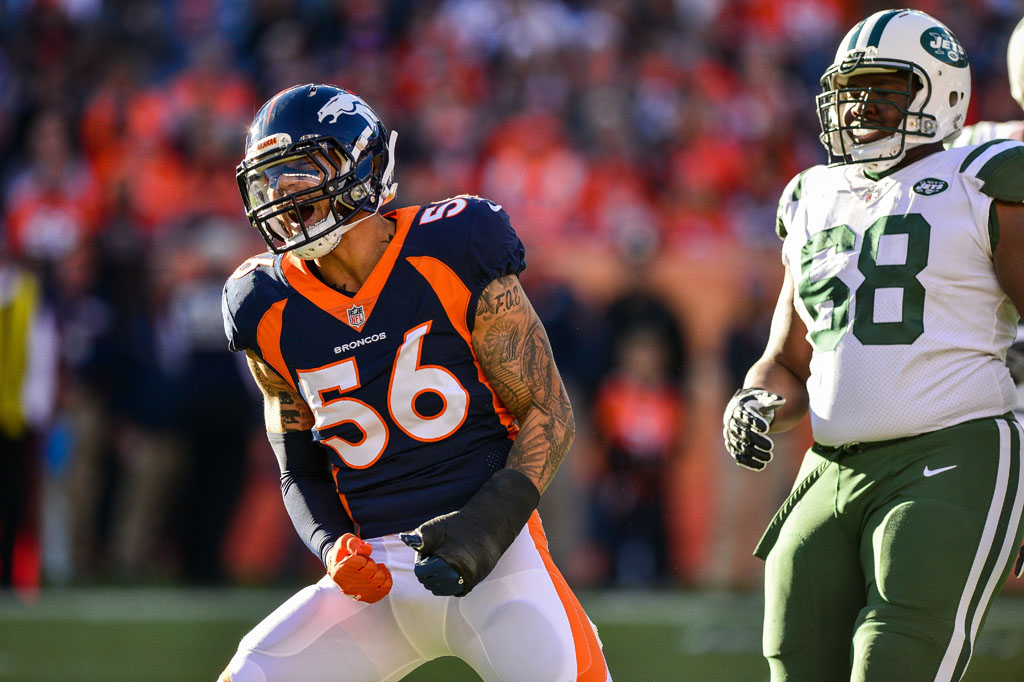 Outside linebacker Shane Ray #56 of the Denver Broncos celebrates a defensive pass broken up at Sports Authority Field at Mile High on December 10, 2017 in Denver, Colorado.