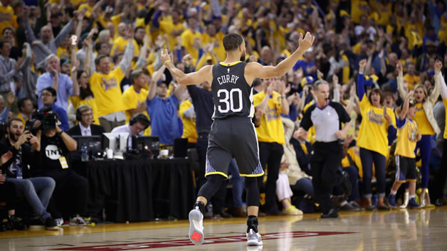 tephen Curry #30 of the Golden State Warriors reacts after making a three-point basket against the New Orleans Pelicans during Game Two of the Western Conference Semifinals during the 2018 NBA Playoffs at ORACLE Arena on May 1, 2018 in Oakland, California. The basket was his first attempt after returning from an injury.