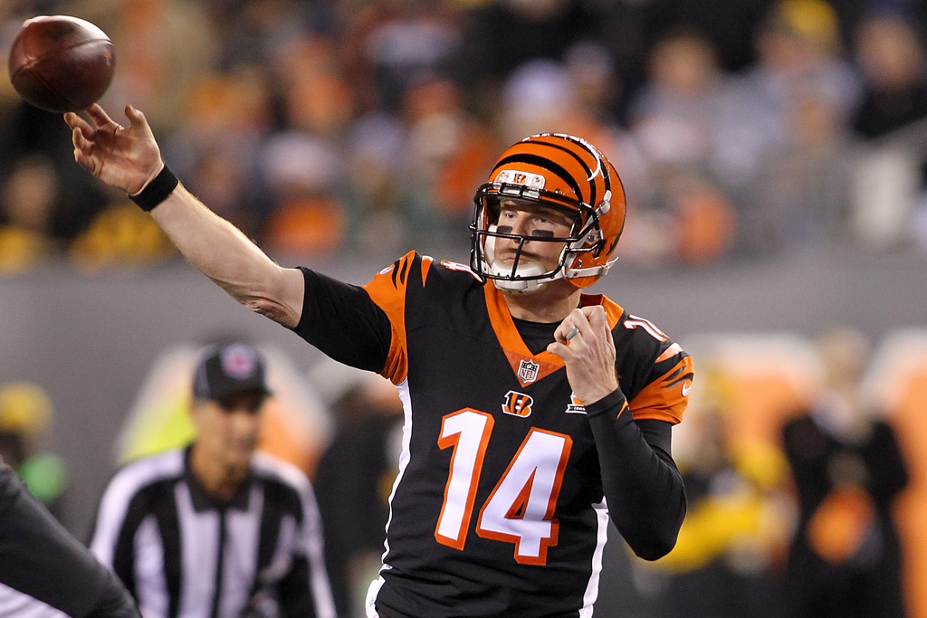 Andy Dalton #14 of the Cincinnati Bengals throws a pass against the Pittsburgh Steelers during the first half at Paul Brown Stadium on December 4, 2017 in Cincinnati, Ohio.