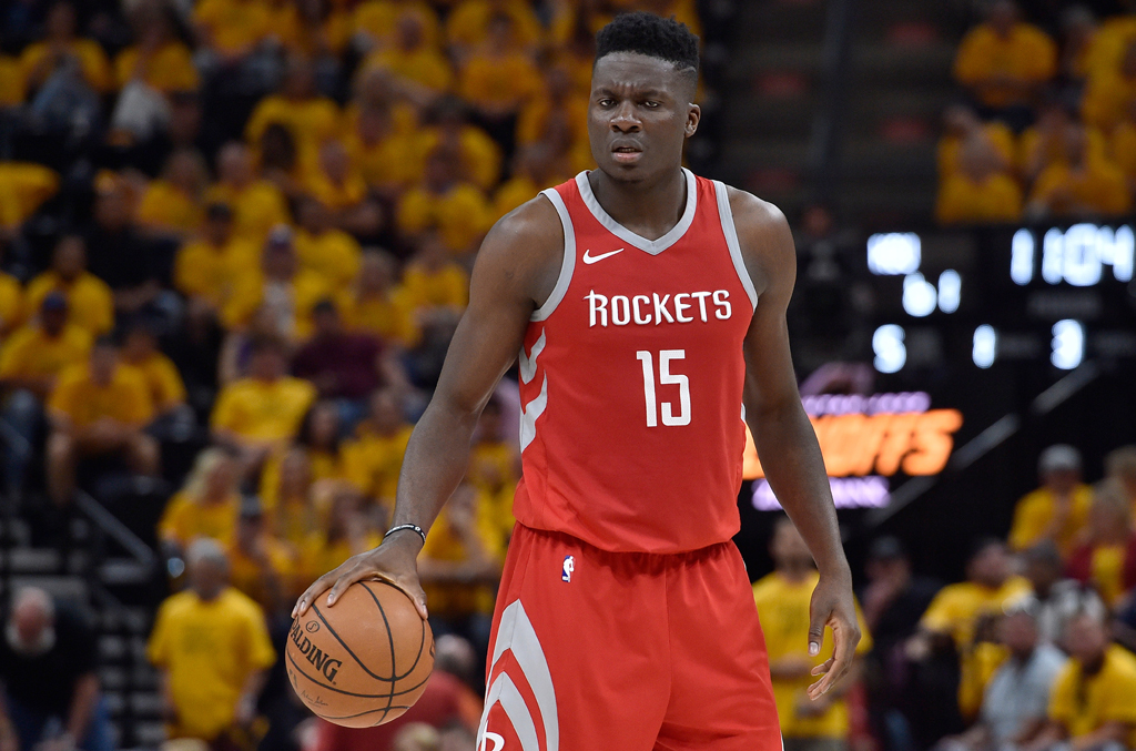 Clint Capela #15 of the Houston Rockets controls the ball in the second half during Game Four of Round Two of the 2018 NBA Playoffs against the Utah Jazz at Vivint Smart Home Arena on May 6, 2018 in Salt Lake City, Utah. The Rockets beat the Jazz 100-87.