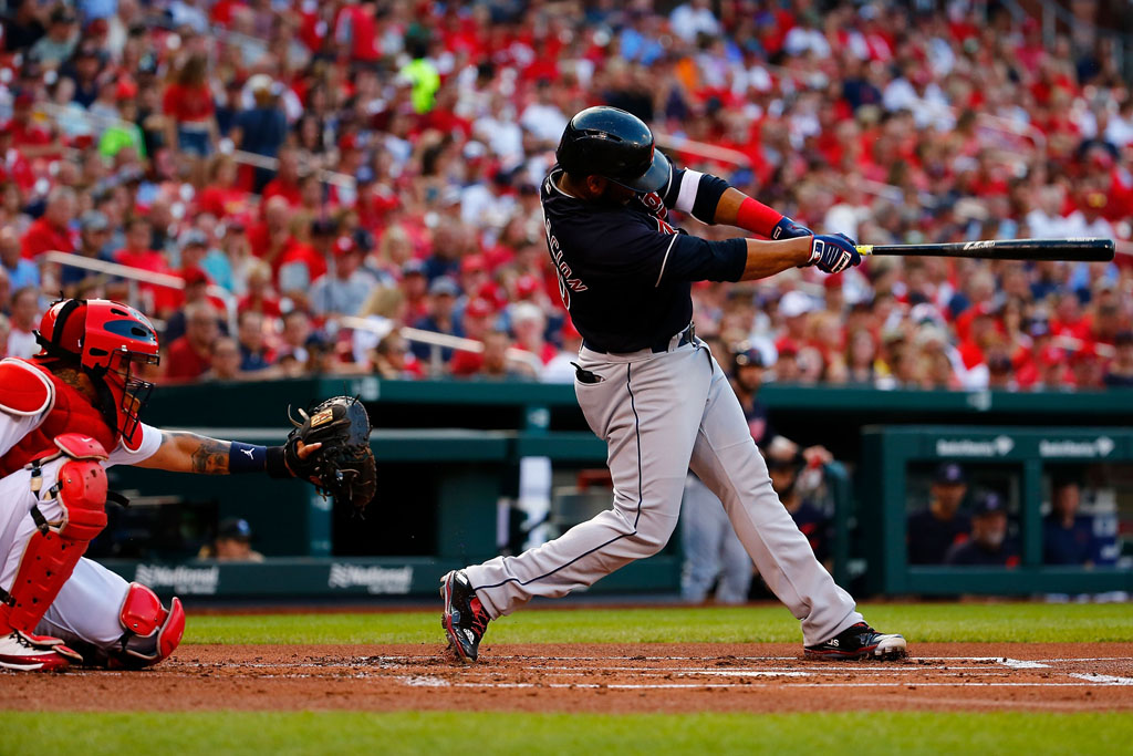 Edwin Encarnacion #10 of the Cleveland Indians hits a home run against the St. Louis Cardinals in the second inning at Busch Stadium on June 27, 2018 in St. Louis, Missouri.