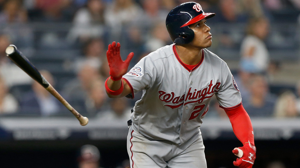 Juan Soto #22 of the Washington Nationals follows through on a seventh inning home run against the New York Yankees at Yankee Stadium on June 13, 2018 in the Bronx borough of New York City.