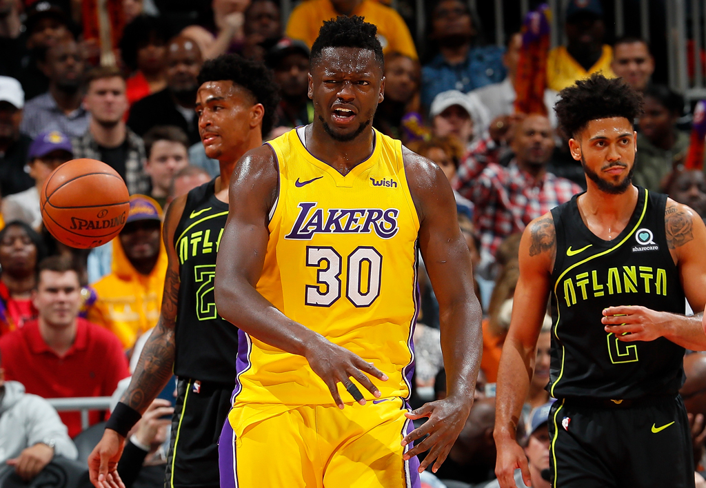 Julius Randle #30 of the Los Angeles Lakers reacts after drawing a foul on a basket against the Atlanta Hawks at Philips Arena on February 26, 2018 in Atlanta, Georgia.