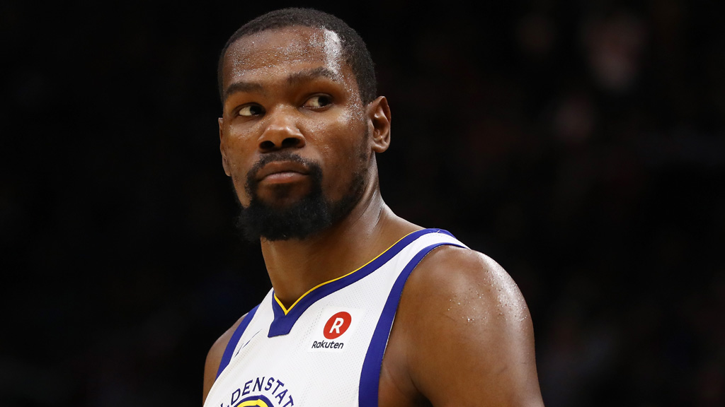 Kevin Durant #35 of the Golden State Warriors reacts against the Cleveland Cavaliers during Game Three of the 2018 NBA Finals at Quicken Loans Arena on June 6, 2018 in Cleveland, Ohio.
