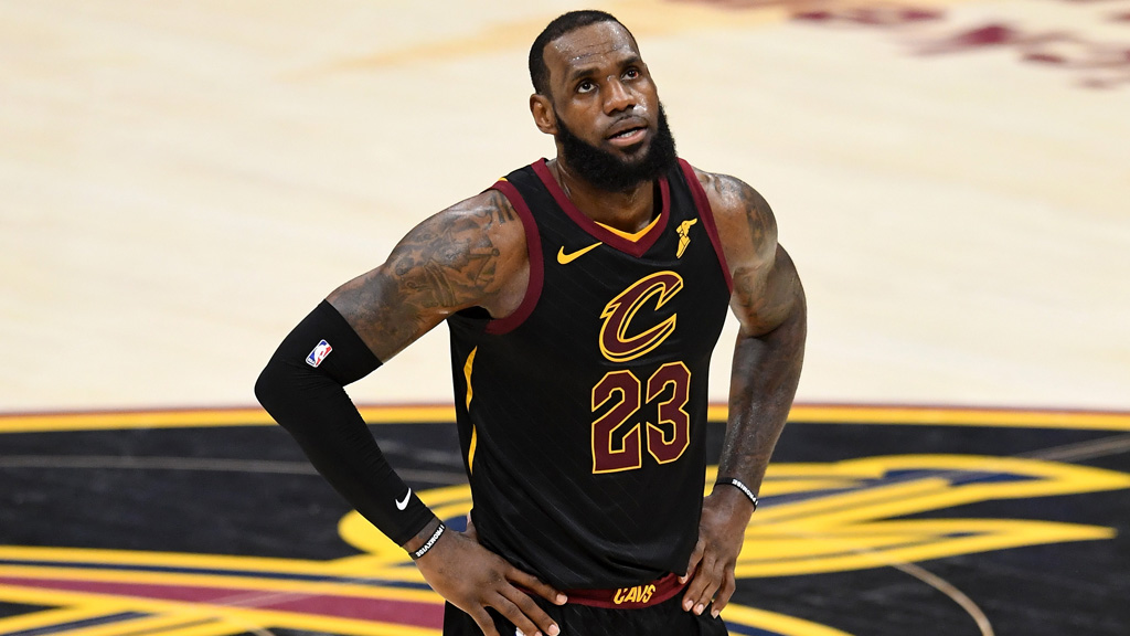 LeBron James #23 of the Cleveland Cavaliers looks on in the second half against the Golden State Warriors during Game Four of the 2018 NBA Finals at Quicken Loans Arena on June 8, 2018 in Cleveland, Ohio.