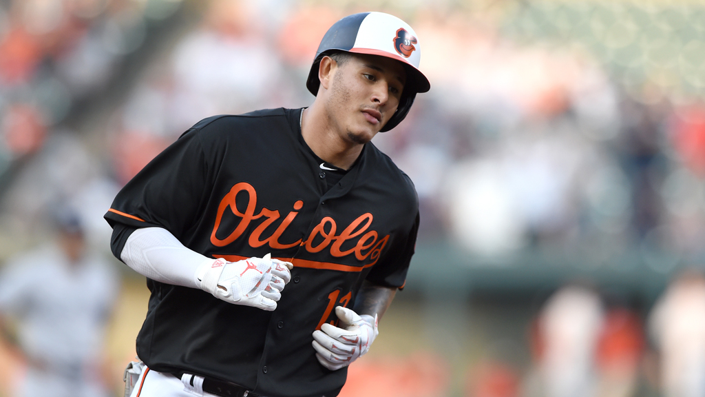 Manny Machado #13 of the Baltimore Orioles rounds the bases after hitting a home run during a baseball game against the New York Yankees at Oriole Park at Camden Yards on June 1, 2018 in Baltimore, Maryland.