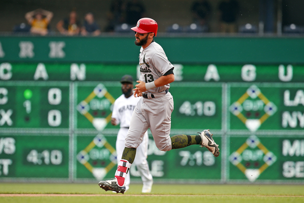 Matt Carpenter #13 of the St. Louis Cardinals rounds second after hitting a solo home run in the first inning against the Pittsburgh Pirates at PNC Park on May 26, 2018 in Pittsburgh, Pennsylvania.