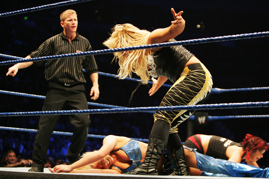 Natalya yells at Kelly Kelly during WWE Smackdown at Acer Arena on June 15, 2008 in Sydney, Australia.