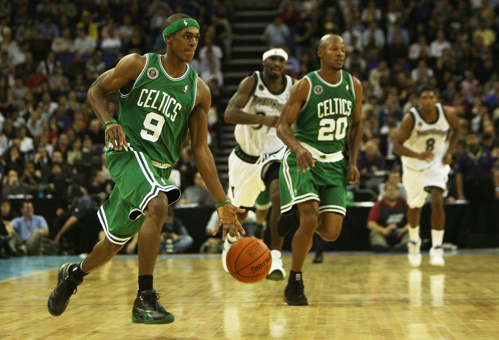 Rajon Rondo #9 of Boston runs with the ball during NBA Europe Live 2007 Tour match between the Boston Celtics and the Minnesota Timberwolves at the O2 Arena on October 10, 2007 in London, England.