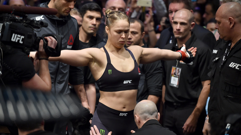 Ronda Rousey of the US prepares to take to the octagon for the UFC bantamweight title fight against compatriot Holly Holm in Melbourne on November 15, 2015.