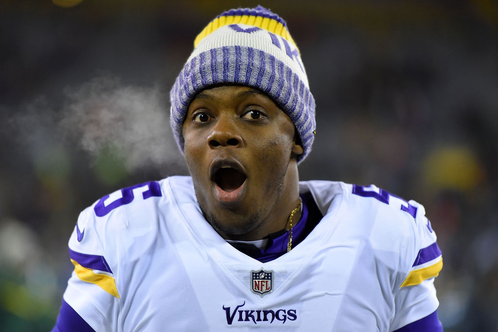 Teddy Bridgewater #5 of the Minnesota Vikings leaves the field following a game against the Green Bay Packers at Lambeau Field on December 23, 2017 in Green Bay, Wisconsin. The Vikings won the game 16-0.