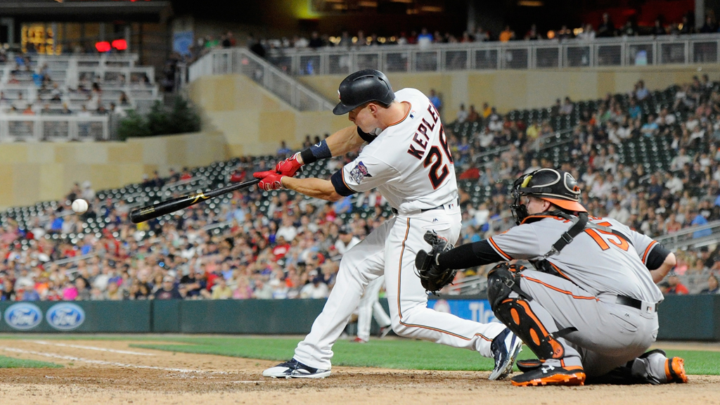 Max Kepler #26 of the Minnesota Twins hits an RBI single as Chance Sisco #15 of the Baltimore Orioles catches during the eighth inning of the game on July 5, 2018 at Target Field in Minneapolis, Minnesota. The Twins defeated the Orioles 5-2.