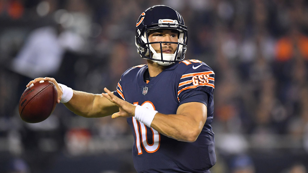 Mitchell Trubisky #10 of the Chicago Bears looks to pass the ball against the Seattle Seahawks at Soldier Field on September 17, 2018 in Chicago, Illinois.