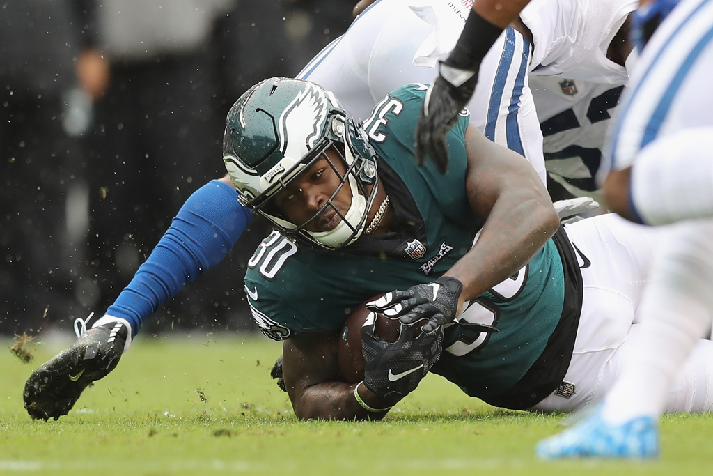 Running back Corey Clement #30 of the Philadelphia Eagles carries for the first down in the first quarter against the Indianapolis Colts at Lincoln Financial Field on September 23, 2018 in Philadelphia, Pennsylvania.