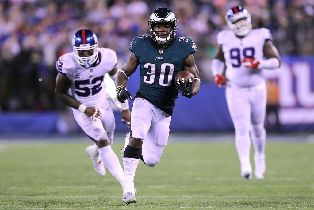 Corey Clement #30 of the Philadelphia Eagles rushes against the New York Giants at MetLife Stadium on October 11, 2018 in East Rutherford, New Jersey.