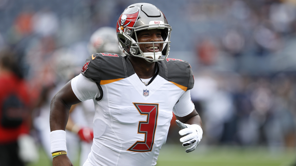 Quarterback Jameis Winston #3 of the Tampa Bay Buccaneers warms up prior to the game against the Chicago Bears at Soldier Field on September 30, 2018 in Chicago, Illinois.