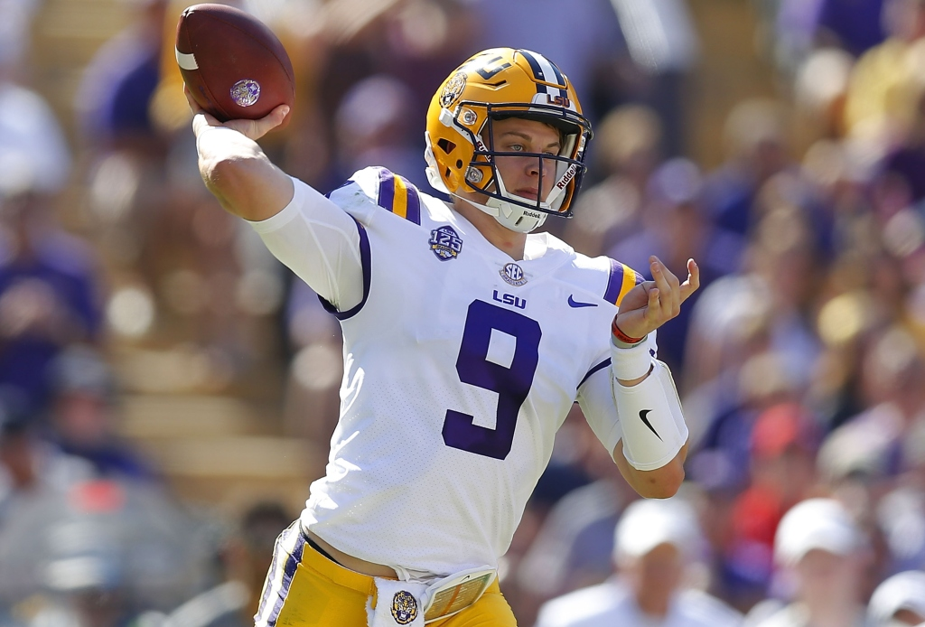 Joe Burrow #9 of the LSU Tigers throws the ball during the first half against the Georgia Bulldogs at Tiger Stadium on October 13, 2018 in Baton Rouge, Louisiana.