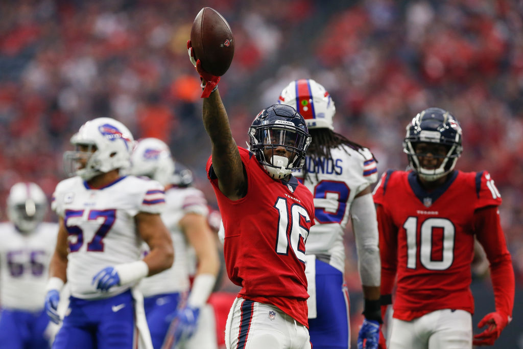 Keke Coutee #16 of the Houston Texans celebrates after a catch in the first half against the Buffalo Bills at NRG Stadium on October 14, 2018 in Houston, Texas.