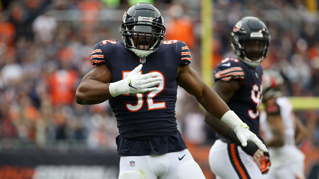 Khalil Mack #52 of the Chicago Bears celebrates after stripping the football in the second quarter against the Tampa Bay Buccaneers at Soldier Field on September 30, 2018 in Chicago, Illinois.