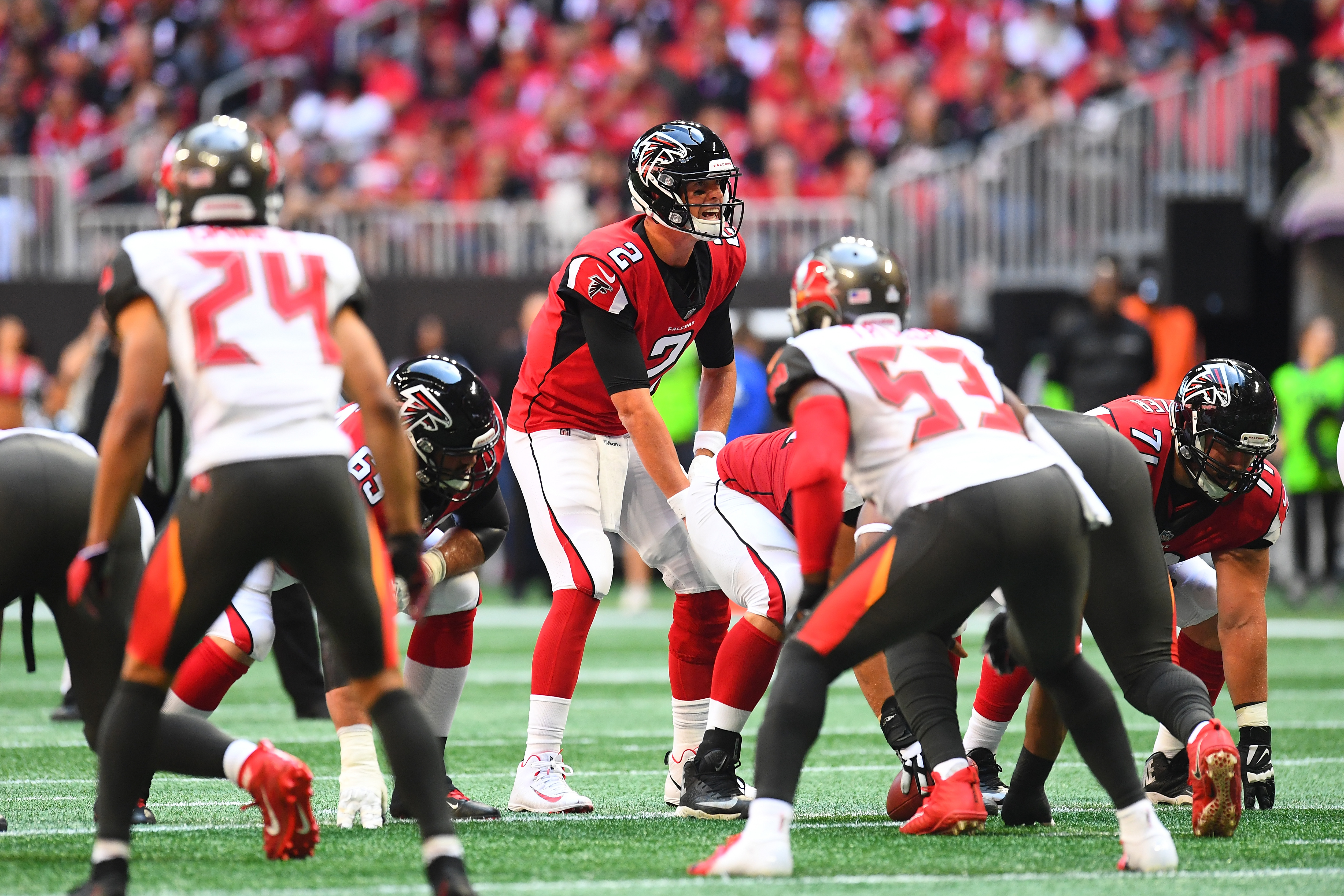 Matt Ryan #2 of the Atlanta Falcons during the second quarter against the Tampa Bay Buccaneers at Mercedes-Benz Stadium on October 14, 2018 in Atlanta, Georgia.