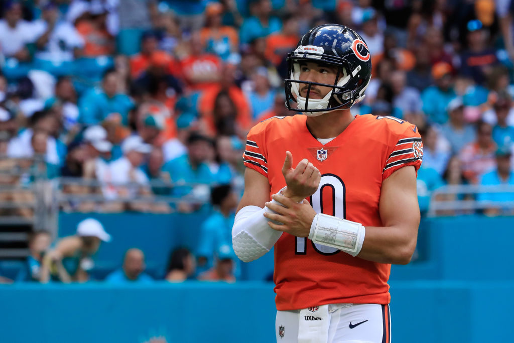 Mitchell Trubisky #10 of the Chicago Bears looks on against the Miami Dolphins during the game at Hard Rock Stadium on October 14, 2018 in Miami, Florida.