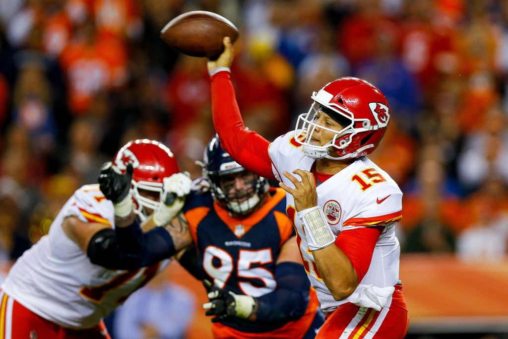 Quarterback Patrick Mahomes #15 of the Kansas City Chiefs passes against the Denver Broncos in the second quarter of a game at Broncos Stadium at Mile High on October 1, 2018 in Denver, Colorado.