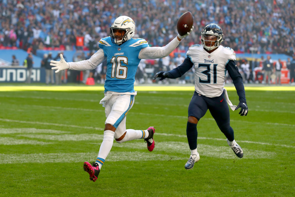 Tyrell Williams of Los Angeles Chargers scores his sides first touchdown during the NFL International Series match between Tennessee Titans and Los Angeles Chargers at Wembley Stadium on October 21, 2018 in London, England. LONDON, ENGLAND - OCTOBER 21: Tyrell Williams of Los Angeles Chargers scores his sides first touchdown during the NFL International Series match between Tennessee Titans and Los Angeles Chargers at Wembley Stadium on October 21, 2018 in London, England.