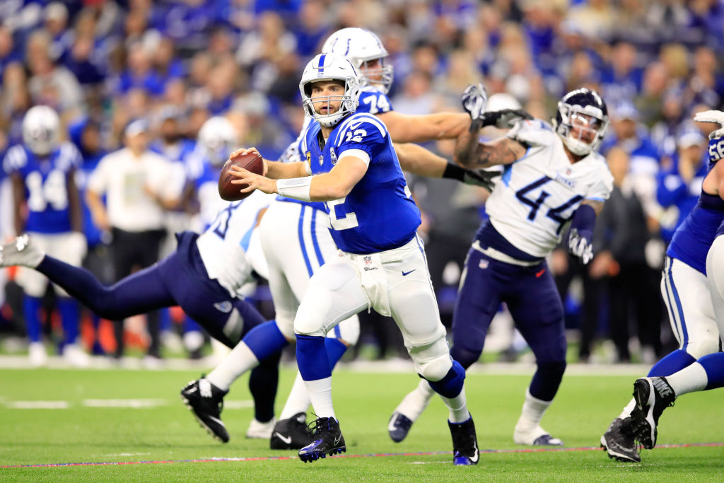 Andrew Luck #12 of the Indianapolis Colts throws a pass against the Tennessee Titans at Lucas Oil Stadium on November 18, 2018 in Indianapolis, Indiana.