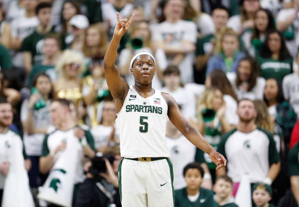 Cassius Winston #5 of the Michigan State Spartans gives instructions to his teammates during a game against the Illinois Fighting Illini at Breslin Center on February 20, 2018 in East Lansing, Michigan.