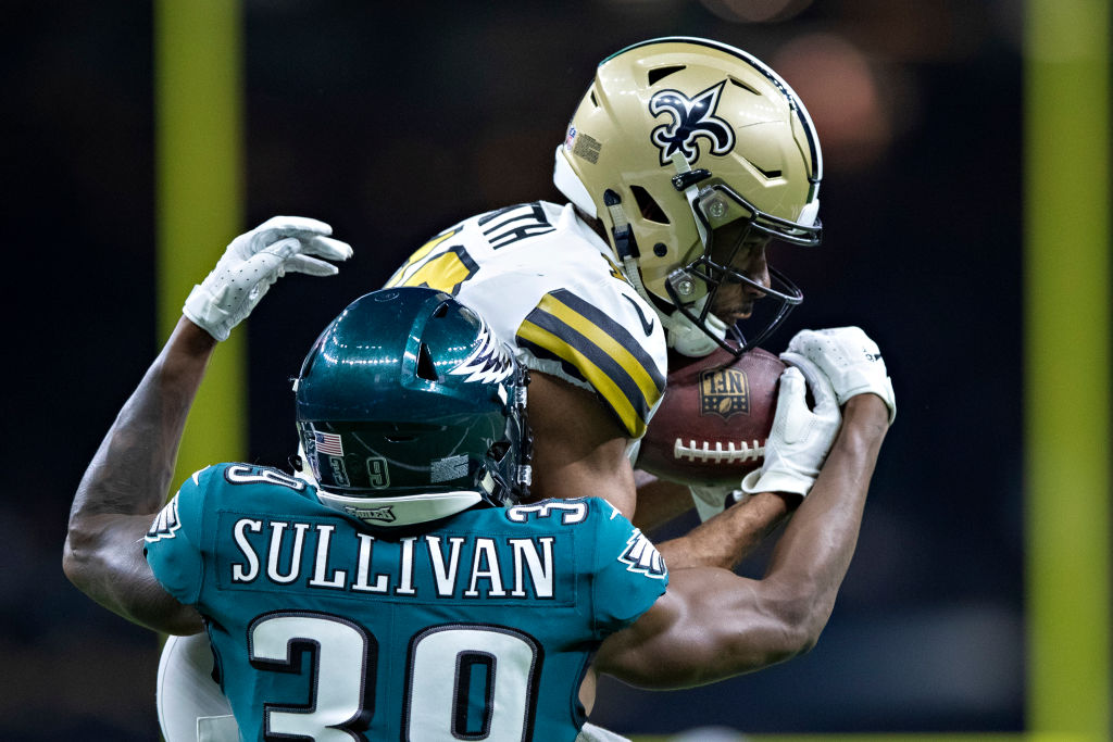 Tre'Quan Smith #10 of the New Orleans Saints catches a pass in front of Chandon Sullivan #39 of the Philadelphia Eagles in the second half at Mercedes-Benz Superdome on November 18, 2018 in New Orleans, Louisiana. The Saints defeated the Eagles 48-7.