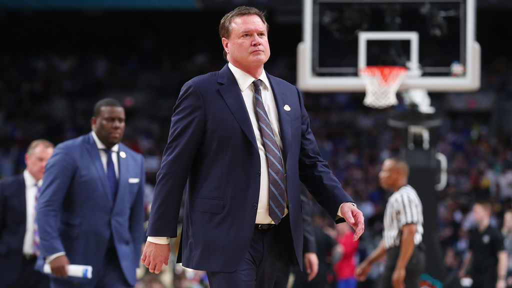 Head coach Bill Self of the Kansas Jayhawks looks on in the first half against the Villanova Wildcats during the 2018 NCAA Men's Final Four Semifinal at the Alamodome on March 31, 2018 in San Antonio, Texas.