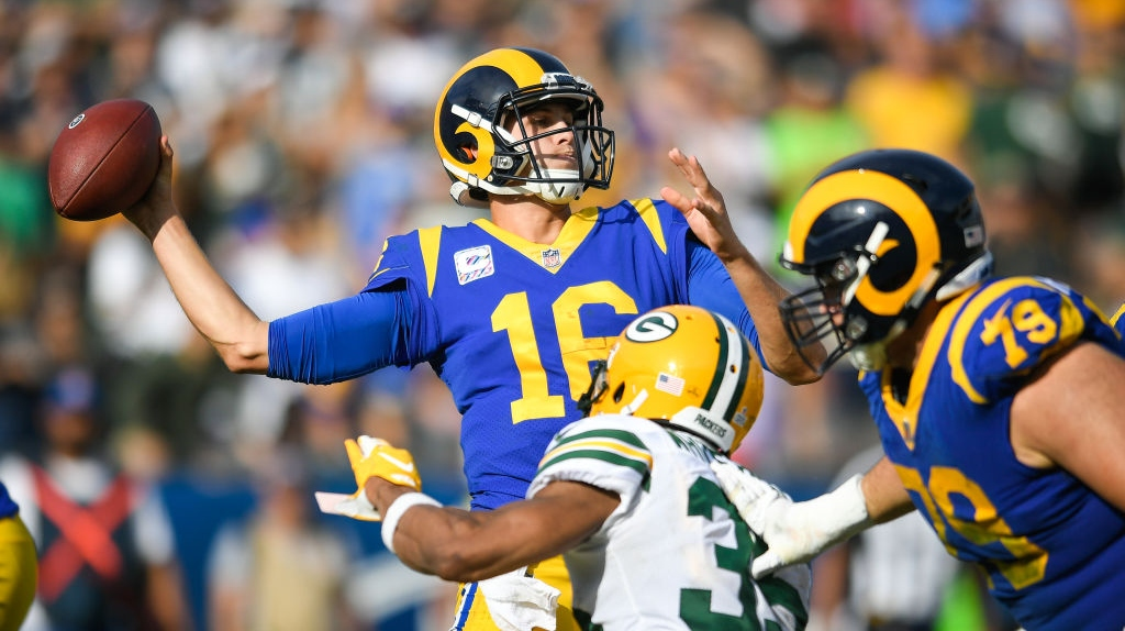 Quarterback Jared Goff #16 of the Los Angeles Rams throws an incomplete pass in the third quarter against the Green Bay Packers at Los Angeles Memorial Coliseum on October 28, 2018 in Los Angeles, California.