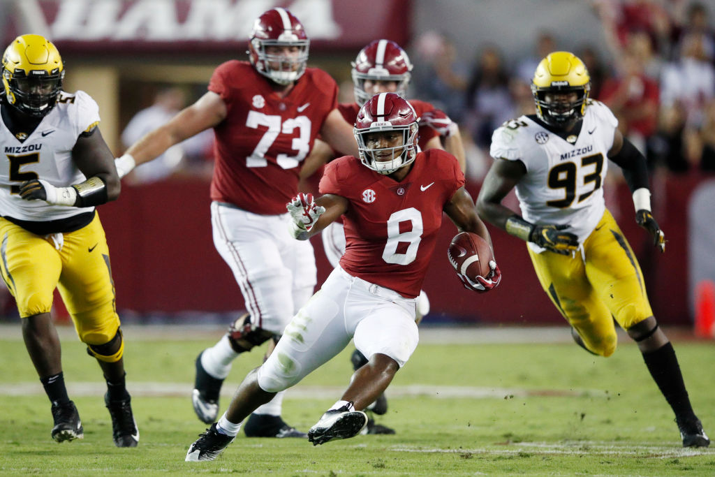 Josh Jacobs #8 of the Alabama Crimson Tide runs with the ball in the first quarter of the game against the Missouri Tigers at Bryant-Denny Stadium on October 13, 2018 in Tuscaloosa, Alabama.