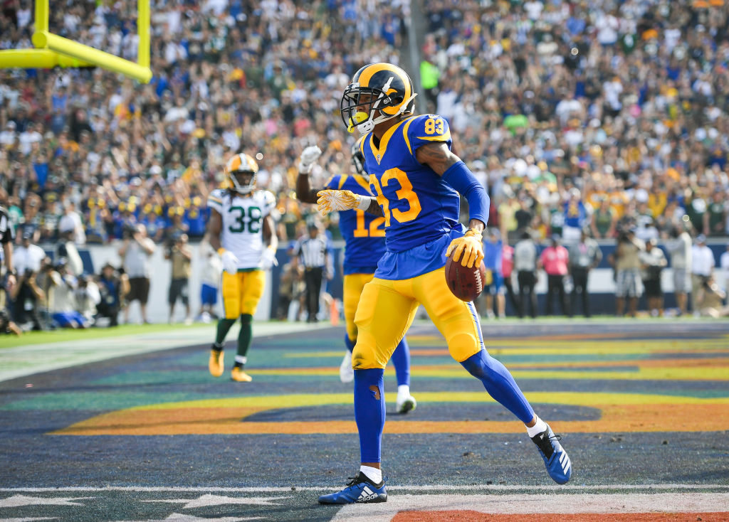 Wide receiver Josh Reynolds #83 of the Los Angeles Rams reacts to a touchdown pass in the second quarter against the Green Bay Packers at Los Angeles Memorial Coliseum on October 28, 2018 in Los Angeles, California.