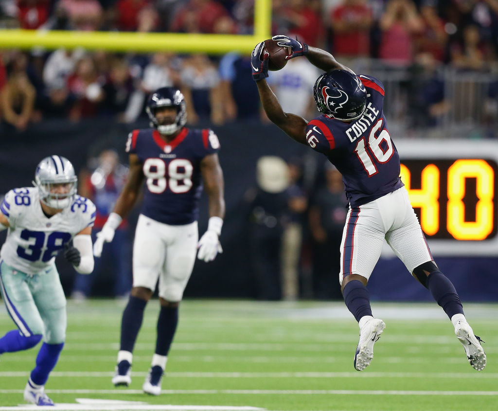 Keke Coutee #16 of the Houston Texans makes a catch as Jordan Akins #88 looks on in the fourth quarter against the Dallas Cowboys at NRG Stadium on October 7, 2018 in Houston, Texas.