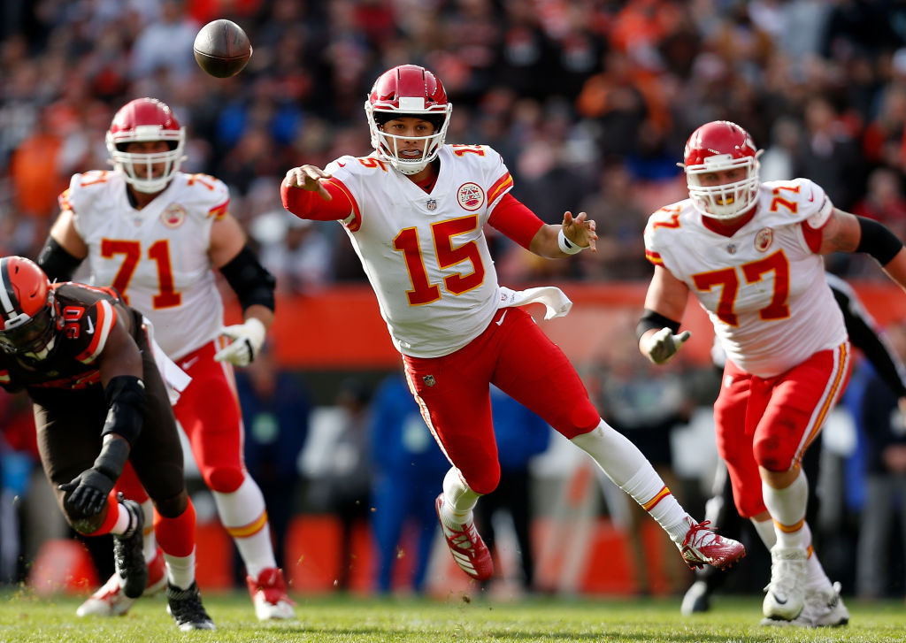 Patrick Mahomes #15 of the Kansas City Chiefs throws a pass during the third quarter against the Cleveland Browns at FirstEnergy Stadium on November 4, 2018 in Cleveland, Ohio.