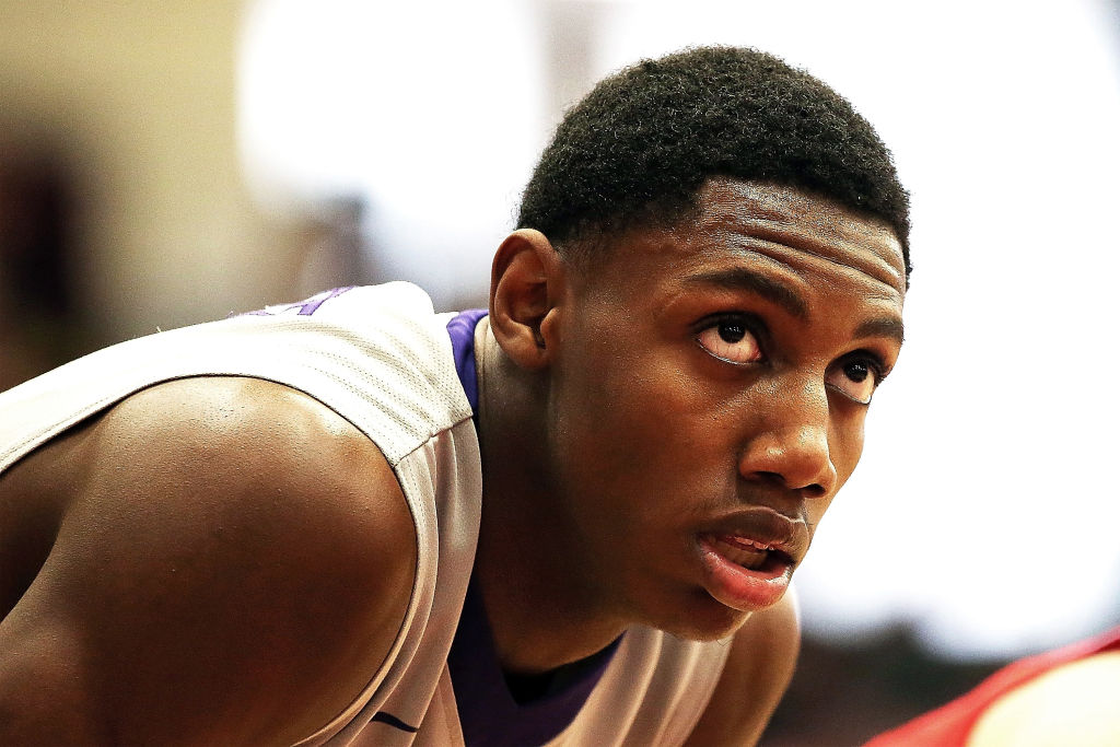 R.J. Barrett #5 of Montverde Academy looks on in a game against Mater Dei High School during the 2018 Spalding Hoophall Classic at Blake Arena at Springfield College on January 15, 2018 in Springfield, Massachusetts.